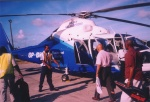 The helicopter I took from Antigua to get to the island