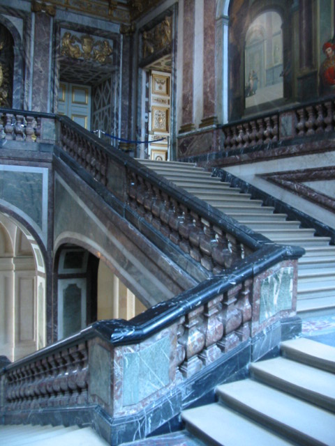 """A marble staircase at the beginning of our """"audio tour""""."""