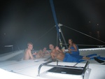 First night on the boat, enjoying the trampolines at the front.