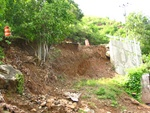 Large parts of the ridge road caved in.