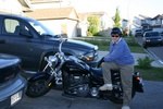 Sue with Don's bike...