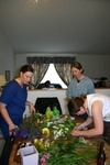 The bridal team hard at work on the flowers.