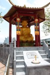 A statue of Buddah, all set up for his birthday.