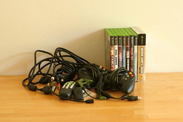 X-Box Stuff: $50 [SOLD] 2 controllers, dvd remote & sensor, tv cables & 8 games. X-Box R.I.P 11/20/2005